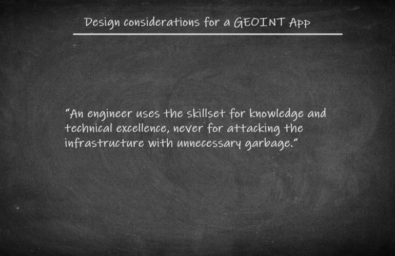 Design considerations for a GEOINT App